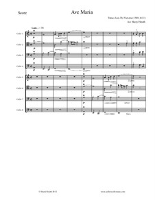 Ave Maria : For eight intermediate/advanced cellists (cello octet) by Tomás Luis de Victoria