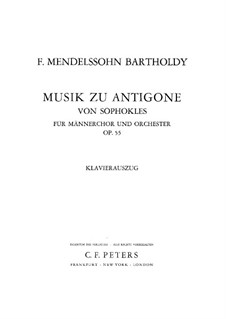 Antigone, Op.55: Partitura piano-vocal by Felix Mendelssohn-Bartholdy