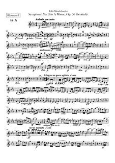Symphony No.3 in A Minor 'Scottish', Op.56: parte clarinetas by Felix Mendelssohn-Bartholdy