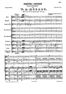 Concerto for Two Pianos and Orchestra No.10 in E Flat Major, K.365: Partitura completa by Wolfgang Amadeus Mozart