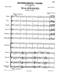 Concerto for Piano and Orchestra No.21 in C Major, K.467: movimento I by Wolfgang Amadeus Mozart