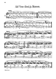 Twelve Variations on 'Ah vous dirais-je, Maman', K.265/300e: Para Piano by Wolfgang Amadeus Mozart