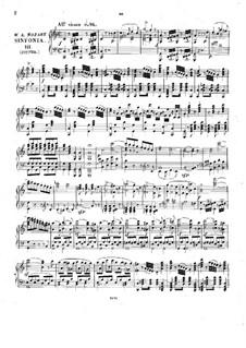 Symphony No.41 in C Major 'Jupiter', K.551: arranjo para piano by Wolfgang Amadeus Mozart