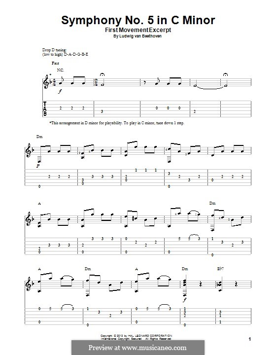Movement I: Version for guitar with tab (Theme) by Ludwig van Beethoven