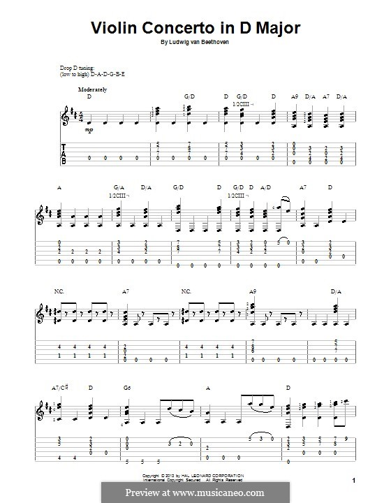 Concerto for Violin and Orchestra in D Major, Op.61: Fragment. Version for guitar with tab by Ludwig van Beethoven