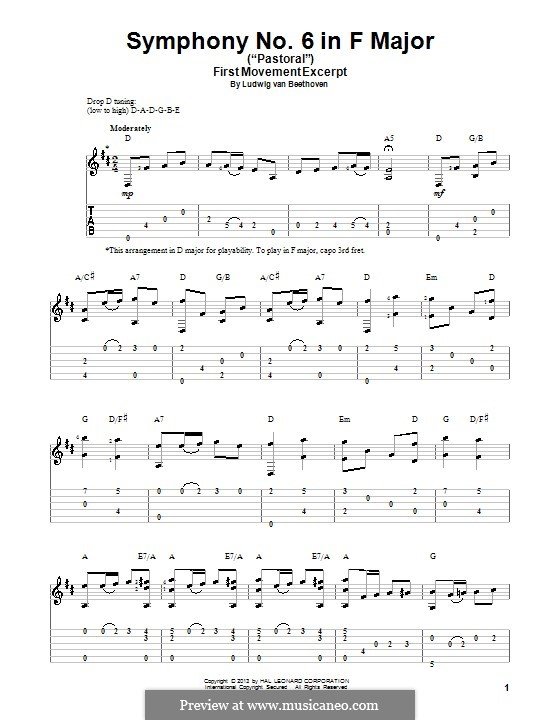 Movement I. Awakening of Happy Feelings on Arrival in the Countryside: Theme. Version for guitar with tab by Ludwig van Beethoven