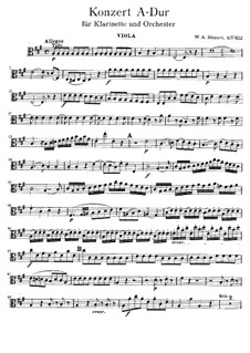Concerto for Clarinet and Orchestra in A Major, K.622: parte viola by Wolfgang Amadeus Mozart