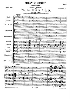 Concerto for Three Pianos and Orchestra No.7 in F Major 'Lodron', K.242: movimento I by Wolfgang Amadeus Mozart