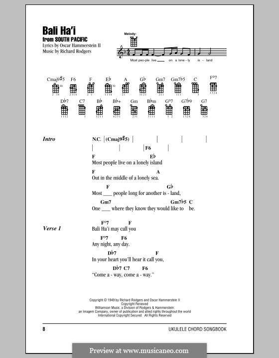 Bali Ha'i: para ukulele by Richard Rodgers