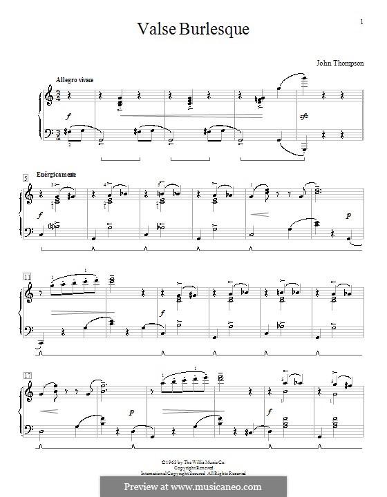 Valse Burlesque: Para Piano by John Thompson