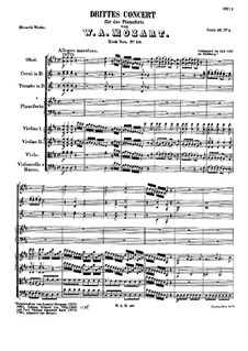 Concerto for Piano and Orchestra No.3 in D Major, K.40: movimento I by Wolfgang Amadeus Mozart