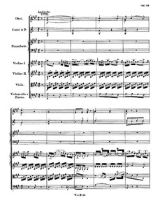 Concerto for Piano and Orchestra No.3 in D Major, K.40: Movimentos II-III by Wolfgang Amadeus Mozart