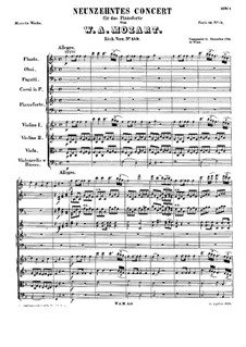 Concerto for Piano and Orchestra No.19 in F Major, K.459: Partitura completa by Wolfgang Amadeus Mozart