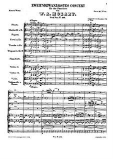 Concerto for Piano and Orchestra No.22 in E Flat Major, K.482: movimento I by Wolfgang Amadeus Mozart
