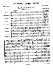 Concerto for Piano and Orchestra No.23 in A Major, K.488: Partitura completa by Wolfgang Amadeus Mozart