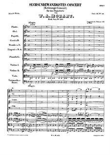 Concerto for Piano and Orchestra No.26 in D Major 'Coronation', K.537: movimento I by Wolfgang Amadeus Mozart