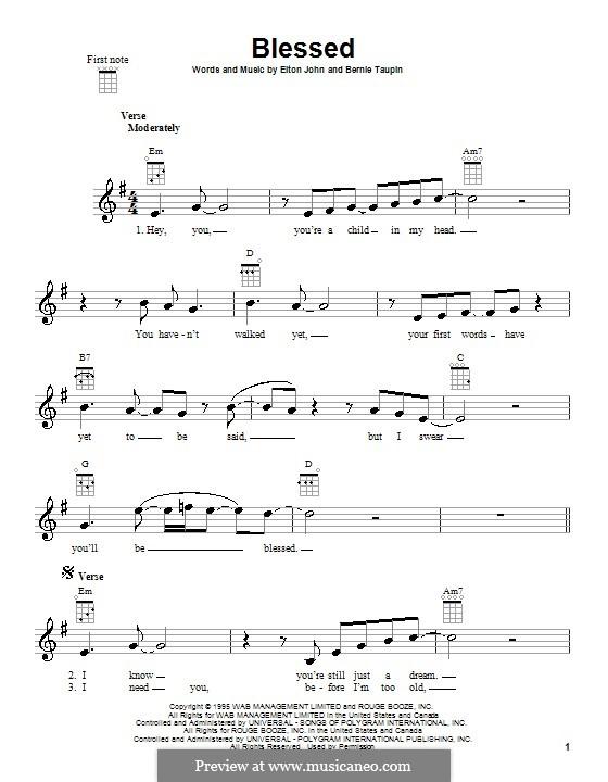Blessed: para ukulele by Elton John