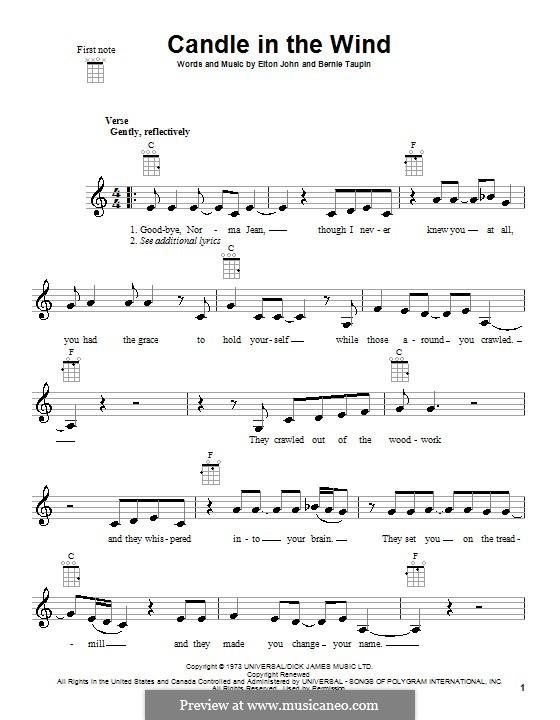 Candle in the Wind: para ukulele by Elton John
