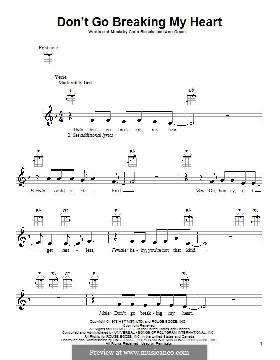 Don't Go Breaking My Heart (Elton John): para ukulele by Ann Orson, Carte Blanche
