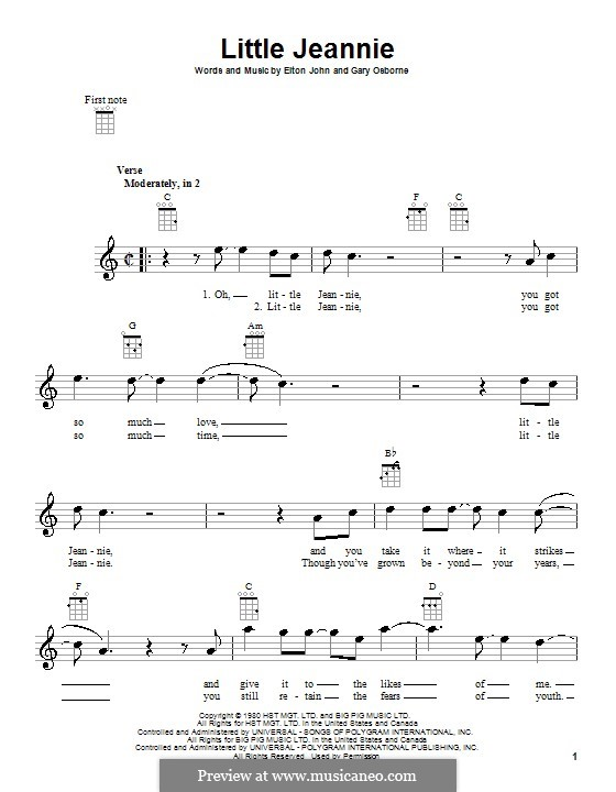 Little Jeannie (Elton John): para ukulele by Gary Osborne