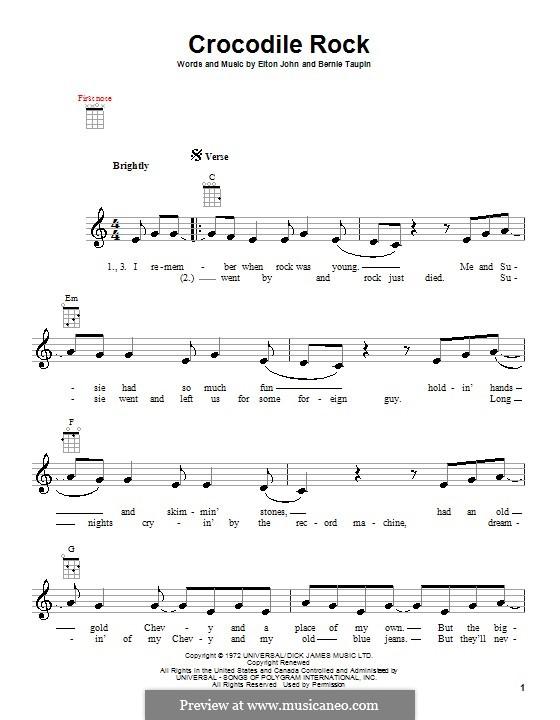 Crocodile Rock: para ukulele by Elton John