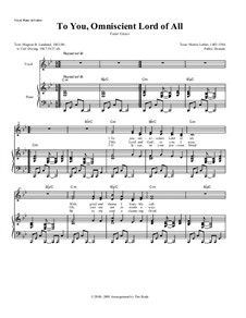 To You, Omniscient Lord of All: Partitura Piano-vocal by Martin Luther