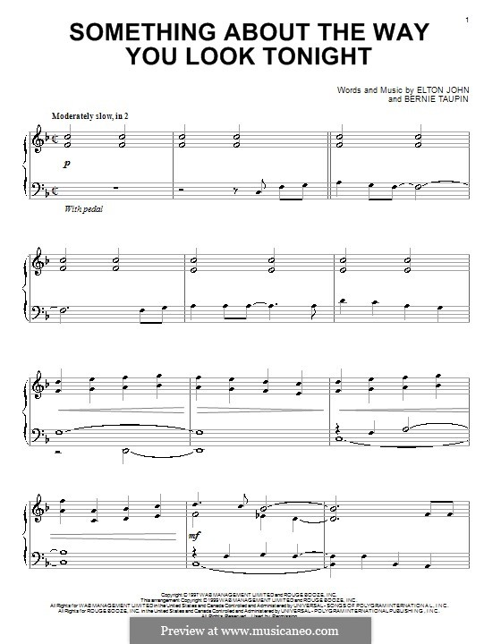 Something About the Way You Look Tonight: Para Piano by Elton John