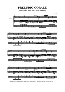 Ich ruf' zu dir, Herr Jesu Christ (I Call on Thee, Lord), BWV 639: para orgãos by Johann Sebastian Bach