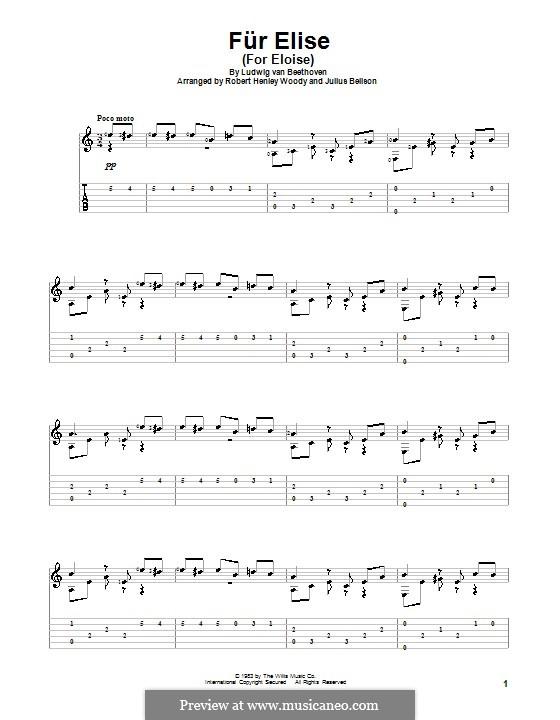 For Elise (Printable Scores): Para guitarra com guia by Ludwig van Beethoven