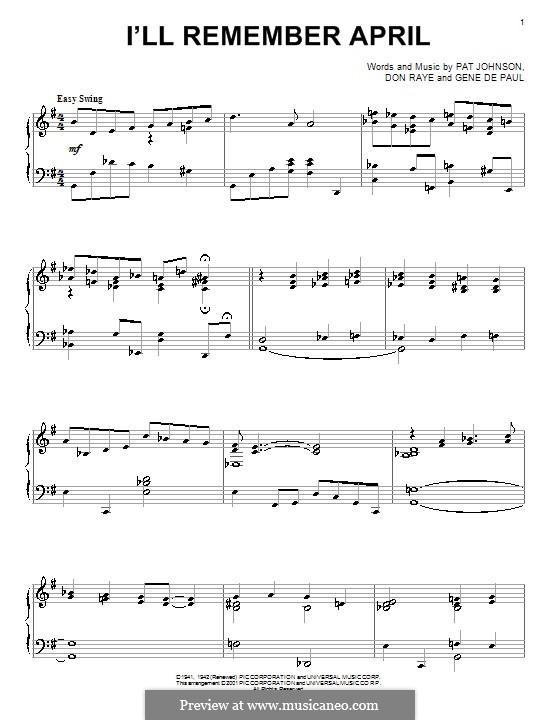 I'll Remember April (Woody Herman): Para Piano by Don Raye, Gene de Paul, Patricia Johnson