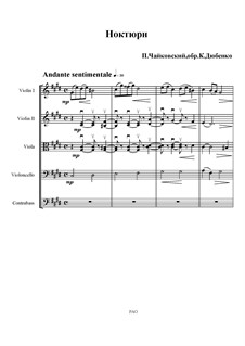 Six Pieces for Piano, TH 133 Op.19: No.4 Nocturne, for string orchestra by Pyotr Tchaikovsky