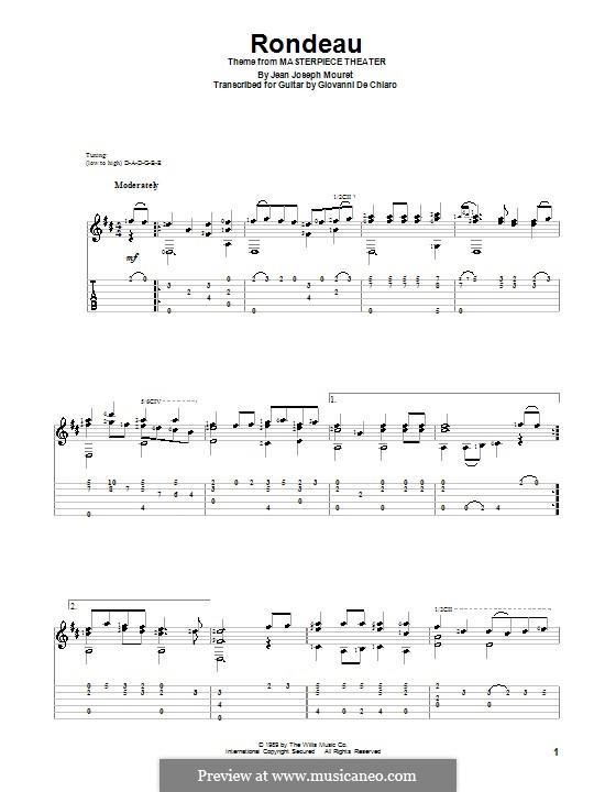 Rondo (Rondeau): Para guitarra com guia by Jean-Joseph Mouret