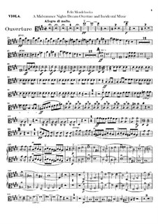 Incidental Music to Shakespeare's Play: parte violas by Felix Mendelssohn-Bartholdy