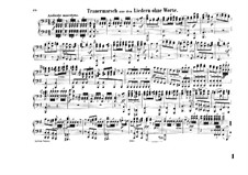 Songs without Words, Op.62: No.3 Funeral March for piano four hands by Felix Mendelssohn-Bartholdy