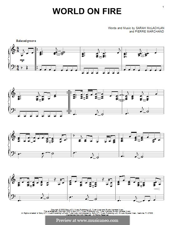 World on Fire: Para Piano by Pierre Marchand, Sarah McLachlan