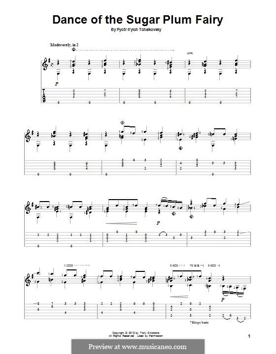 No.3 Dance of the Sugar-Plum Fairy: Para guitarra com guia by Pyotr Tchaikovsky