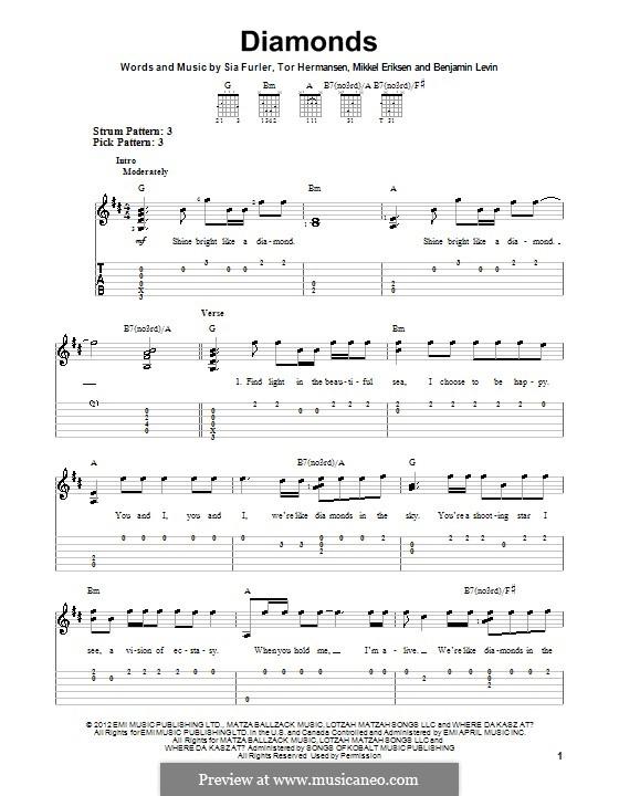 Diamonds (Rihanna): Para guitarra com guia by Benjamin Levin, Mikkel Storleer Eriksen, Sia Furler