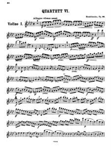 String Quartet No.6 in F Minor, Op.80: violino parte I by Felix Mendelssohn-Bartholdy