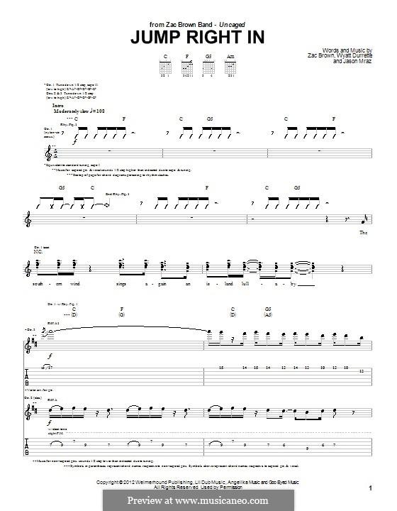 Jump Right in (Zac Brown Band): Para guitarra com guia by Jason Mraz, Wyatt Durrette, Zac Brown
