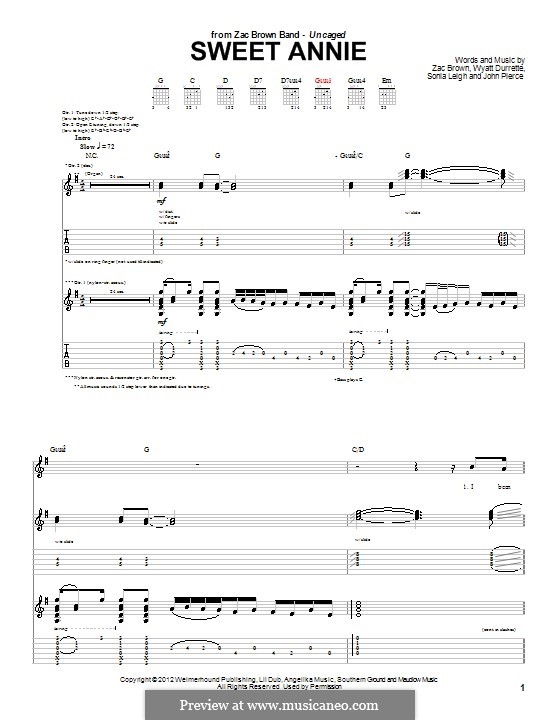 Sweet Annie (Zac Brown Band): Para guitarra com guia by Wyatt Durrette, Zac Brown, John Pierce, Sonia Leigh