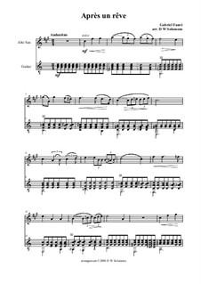 Three Songs, Op.7: No.1 Après un rêve, for alto saxophone and guitar by Gabriel Fauré