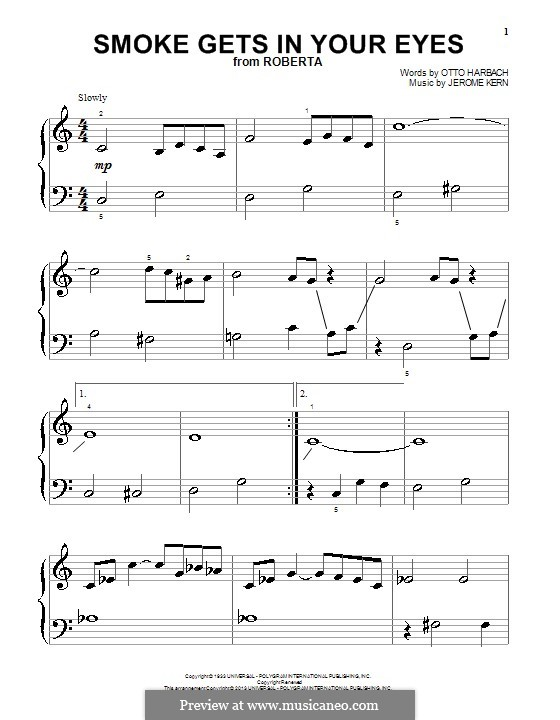 Smoke Gets in Your Eyes (from 'Roberta'): For piano (The Platters) by Jerome Kern