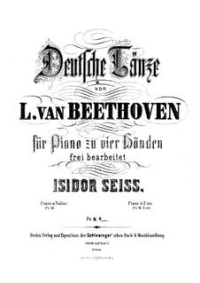 Twelve German Dances, WoO 8: para piano de quadro mãos by Ludwig van Beethoven