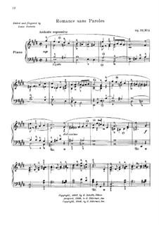 Dix pièces mignonnes (Ten Small Pieces), Op.77: No.3 Romance sans paroles by Moritz Moszkowski