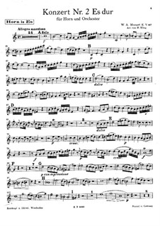 Concerto for Horn and Orchestra No.2 in E Flat Major, K.417: Parte de solo by Wolfgang Amadeus Mozart