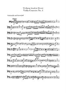 Concerto for Violin and Orchestra No.4 in D Major, K.218: parte violoncelo e contrabaixo by Wolfgang Amadeus Mozart