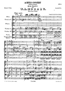Concerto for Piano and Orchestra No.8 in C Major 'Lützow-Concert', K.246: movimento I by Wolfgang Amadeus Mozart