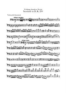 Serenade for Orchestra No.7 in D Major 'Haffner', K.250: parte violoncelo e contrabaixo by Wolfgang Amadeus Mozart
