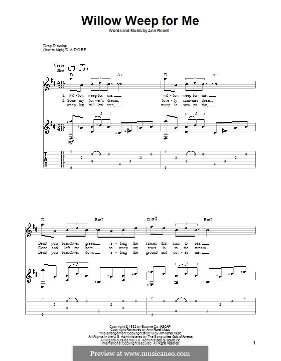 Willow Weep for Me (Chad & Jeremy): For voice and guitar (with tablature) by Ann Ronell