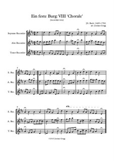 Ein' feste Burg ist unser Gott (A Mighty Fortressis Our God), BWV 80: Chorale 'Das Wort sie sollen lassen stahn', for recorder trio by Johann Sebastian Bach